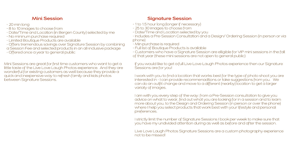 Signature Session vs Mini Session - Which one is right for